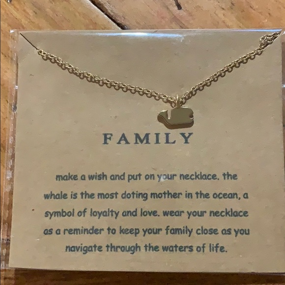 """Fashion Jewelry Jewelry - """"Family """" whale gold necklace"""